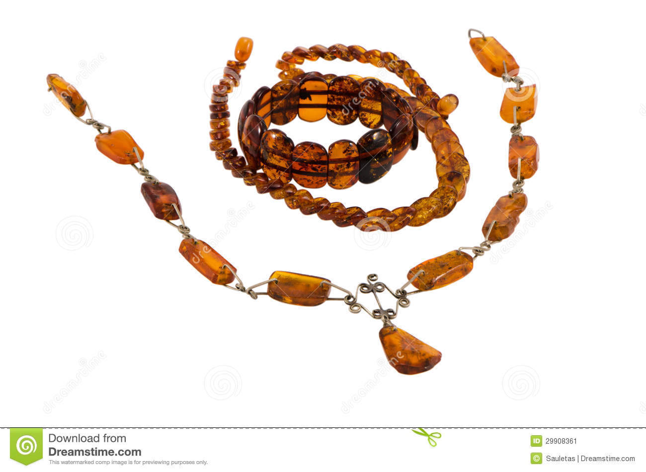 Baltic Amber Stone Jewelry Necklaces Bracelet Stock Image.
