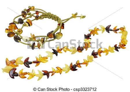 Stock Photo of Jewelry Made of Natural Amber Isolated.