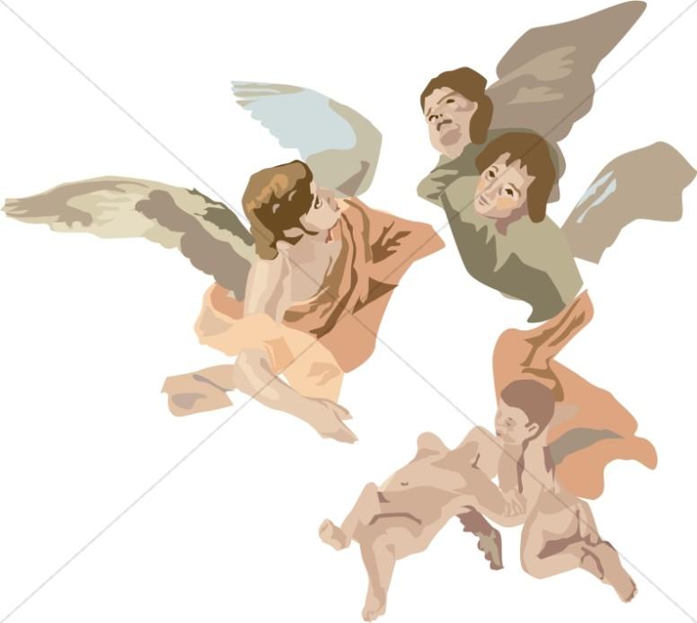 Angels In A Garden Clipart.
