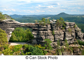Stock Photography of Pravcicka gate (the biggest natural arch in.