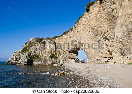Stock Photos of Natural arch in Palinuro, Italy.