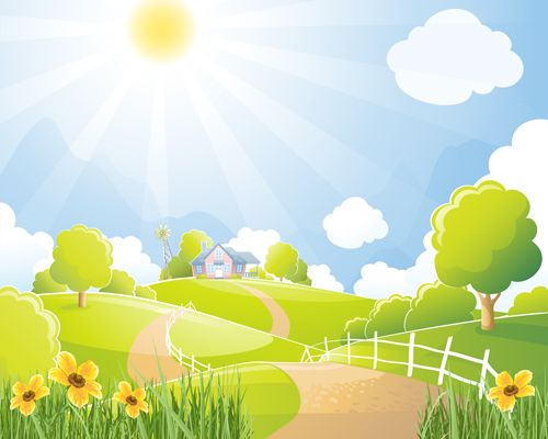 Beautiful natural scenery and sun vector 03.