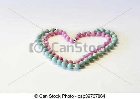 Stock Image of Heart from a beads from natural semiprecious stones.