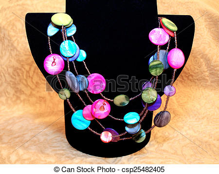 Stock Photography of Beautiful colorful beads of natural nacre on.