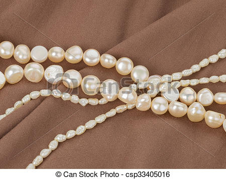 Stock Photography of Beads from natural white pearls.