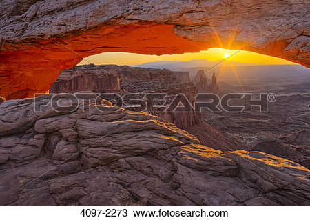 Stock Photo of Natural arch in a canyon, Mesa Arch, Island In The.