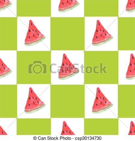 Vectors of Seamless natural color pattern of watermelon.