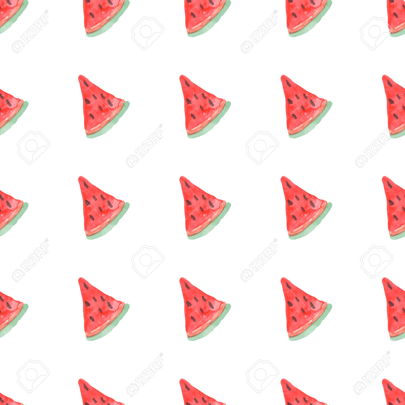 Seamless Natural Color Pattern Of Red Watermelon. Natural Seamless.