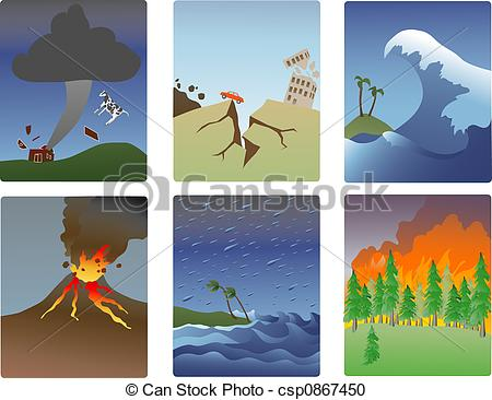 Stock Illustration of natural disaster minitures.