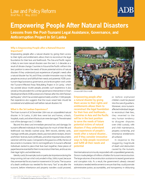 Empowering People After Natural Disasters: Lessons from the.