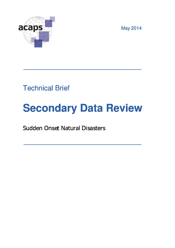 Secondary Data Review: Sudden onset natural disasters.