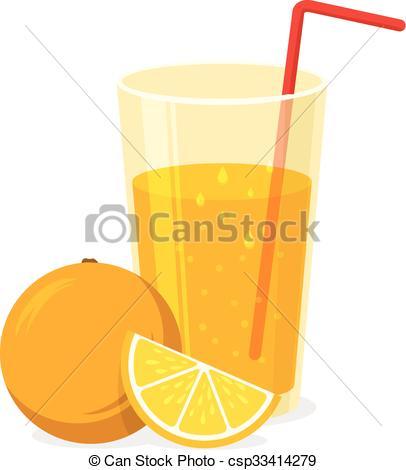 Vectors Illustration of Glass of orange juice..