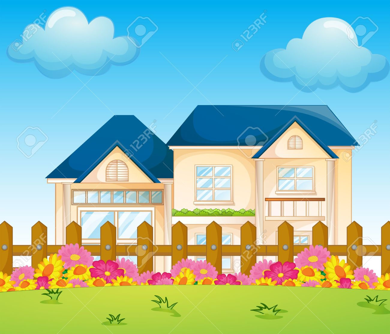 Illustration Of A Concrete House Inside The Fence Royalty Free.