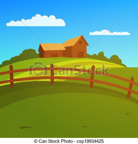 Vector Illustration of Farm Landscape.
