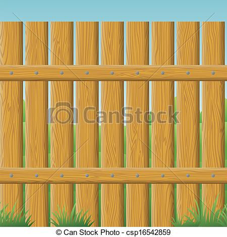 Clipart Vector of Wooden fence, seamless.
