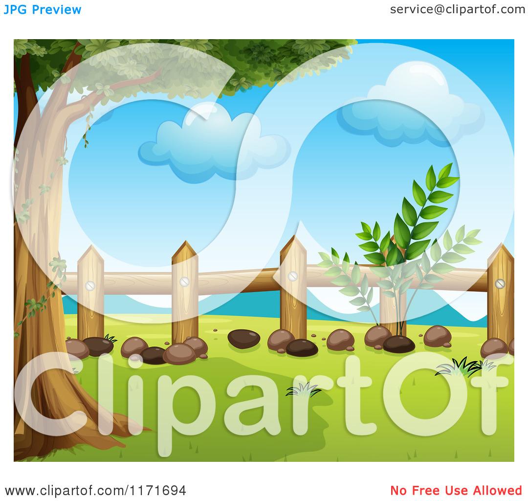 Cartoon of a Wood Fence and Tree.