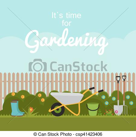Vector Clipart of Gardening Flat Background Vector Illustration.