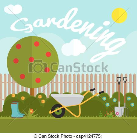 Clipart Vector of Gardening Flat Background Vector Illustration.