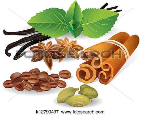 Clip Art of Natural flavors and spices k12790497.