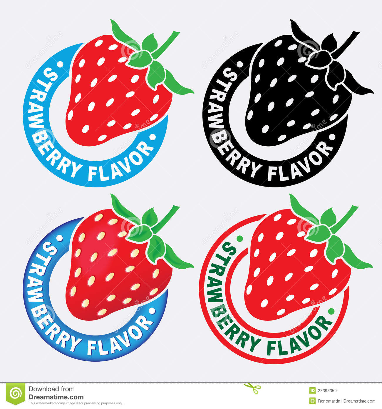 Strawberry Flavor Seal / Mark Royalty Free Stock Images.