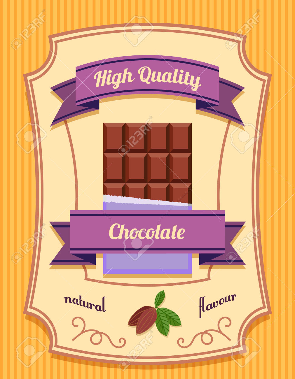 Chocolate Bar Pack High Quality Natural Flavor Flat Poster Vector.
