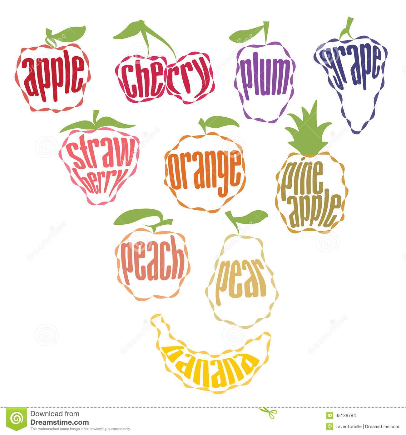 Set Of Fruit Labels.