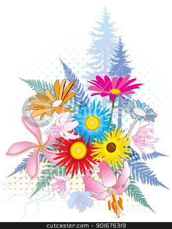 Natural Flower Collage stock vector.