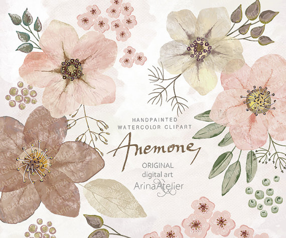 Anemones Watercolor Flowers CLIPART natural by graphicsAtelier.