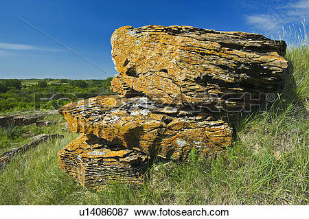 Picture of rock formations, Souris River Valley near Roche Percee.
