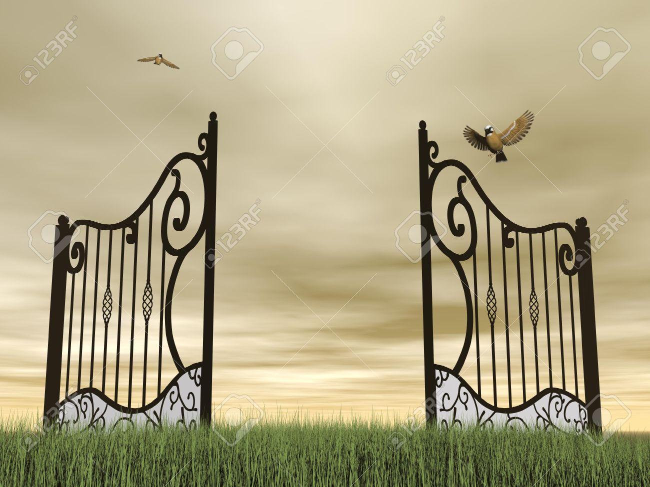 Open garden gate clipart.