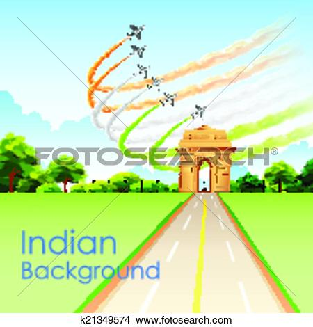 Clipart of Airplane making Indian tricolor flag around India Gate.