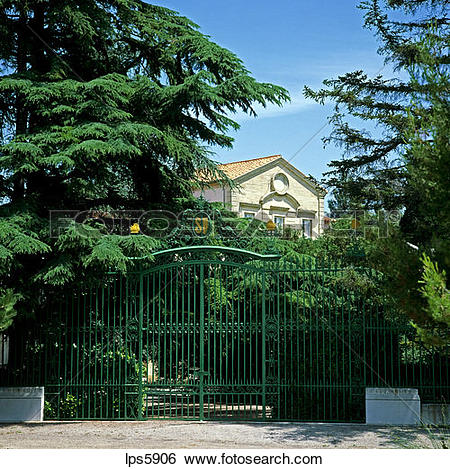 Stock Images of GATE OF PRODUCTION PLANT OF PERRIER SPARKLING.