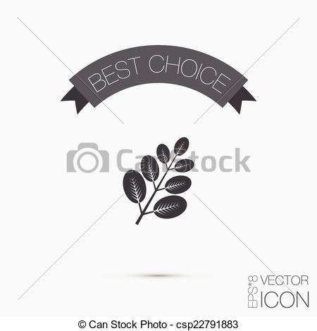 Vector of branch with leaves. symbol icon geometry. teaching.