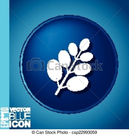 Clipart Vector of branch with leaves. symbol icon geometry.