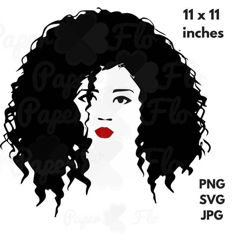 Natural hair SVG diva black woman clip art black ethnic svg tshirt design  black woman hair clip art cut file AfricanAmerican face cut file.