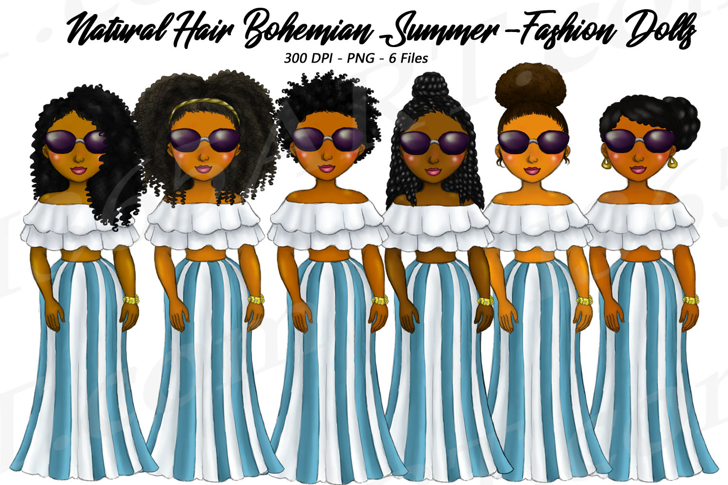 Bohemian Stripes Summer Clipart, Black Girls, Natural Hair.