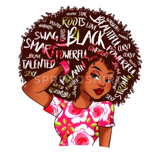 Black Afro Word Art Natural Hair Camper Mug.