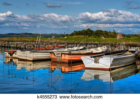 Stock Photo of Boats in natural harbor k4555273.