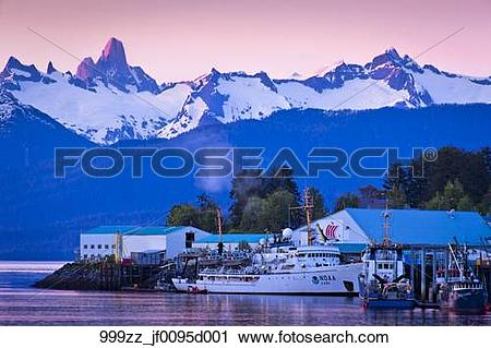 Stock Photography of Sunset over North Harbor with alpenglow on.