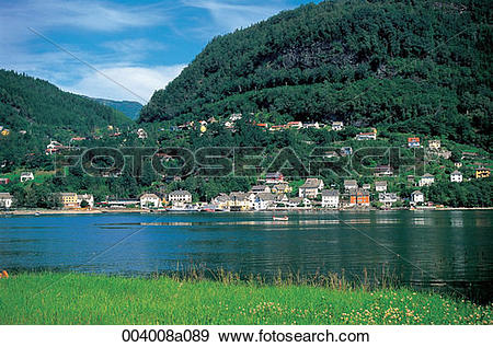 Stock Photograph of North Europe, landscape, village, mountain.