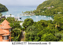 Caribbean st lucia marigot natural harbor marigot bay Images and.