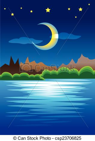 Vector Illustration of Peaceful Natural Scene of Mountains against.