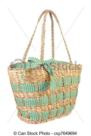 Stock Photo of Eco friendly wicker shopping bag made of natural.