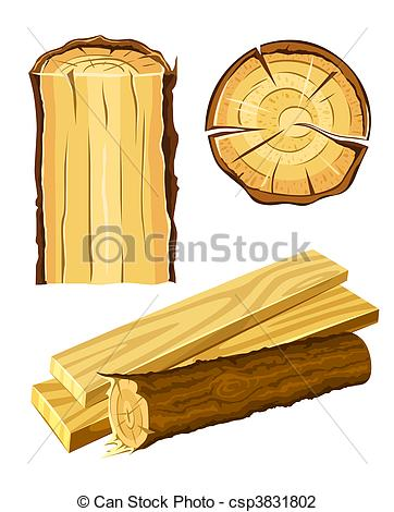 Vector Illustration of wooden material wood and board.
