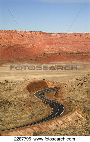 Stock Images of Highway 89A winding up to Kaibab Plateau w.