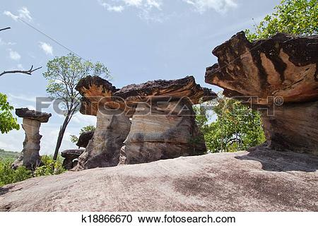 Stock Photography of Mushroom stone and blue sky,The Natural Stone.
