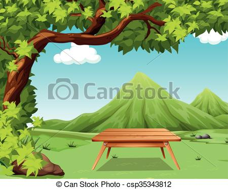 Vector Clip Art of Nature scene with picnic table in the park.