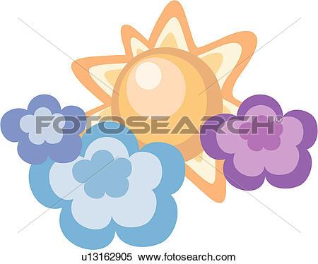 Clipart of weather, natural phenomenon, nature, wind, cloud, sun.