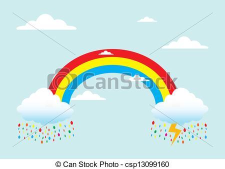 Clip Art Vector of Rainbow with rain.