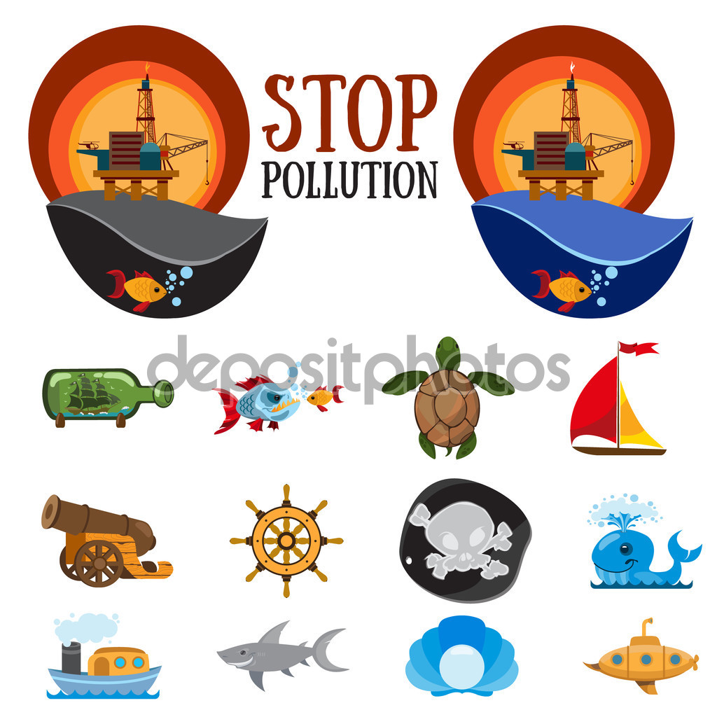 Set of colorful figures on environmental protection, stop water.